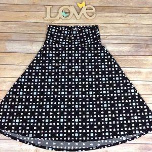 LuLaRoe Skirts - LuLaRoe sm black with pastel squares Azure skirt